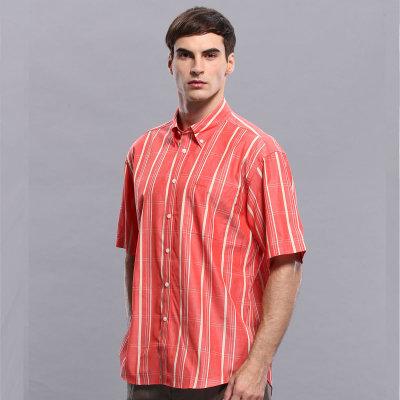 圣大保罗专柜男装*短袖格子纯棉衬衣衬衫ps8wh117(红色 42(xl)175/92b