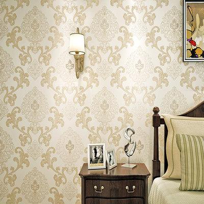 睐可欧式时尚大花墙纸 无纺布大马士革壁纸 客厅卧室满铺背景墙(暖