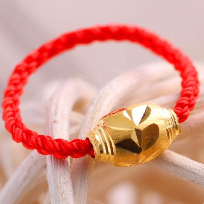 思无邪 红绳黄金戒指 女士金戒指 情侣款转运珠足金戒指 (0.26克)